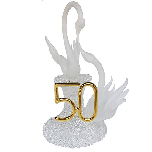 50th Anniversary Wedding Cake Topper with Swans -