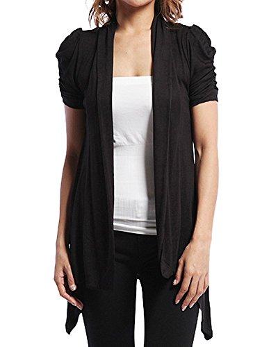 TheMogan Women's Drape Jersey Short Sleeve OPEN CARDIGAN - Black - Small