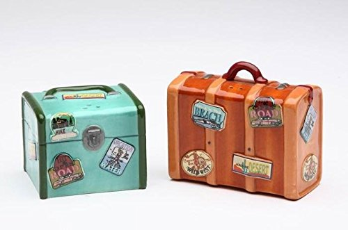 Brown Green Suitcase Pepper Shakers