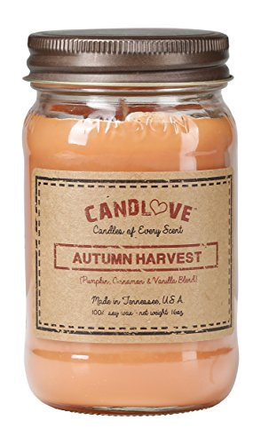 CANDLOVE Autumn Harvest Scented 16oz Mason Jar Candle 100% Soy Made in The USA