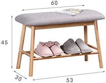 玄関ベンチ スツール 収納ベンチ 靴収納 ベンチ 自然の竹靴クッションと玄関靴収納家庭用棚靴ベンチラック エントランスベンチ 省スペース (色 : 褐色, サイズ : 60x30x45cm)