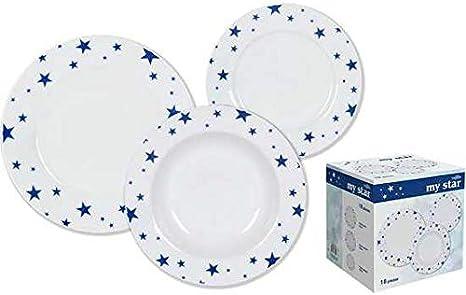 Vajilla My Star - Vajilla Porcelana 18 Piezas 6 Servicios Blanca Decorada