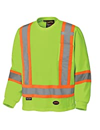 Pioneer V1050860-XL 100% Cotton Long Sleeve Reflective Safety Shirt, Yellow-Green, XL