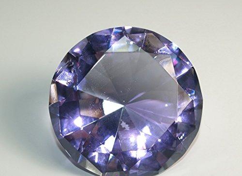 - Diamond Jewel Paperweight 60mm Lavender Round Cut