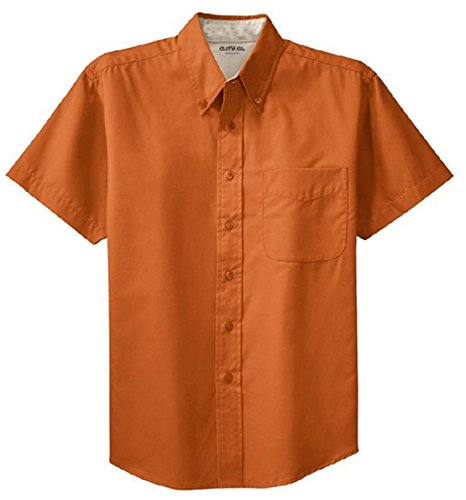 Clothe Co. Mens Short Sleeve Wrinkle Resistant Easy Care Button Up Shirt, Texas Orange/Light Stone, XL