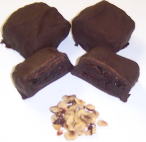 Scott's Cakes Dark Chocolate Covered Brownie Bites with Hazelnuts in a 1 Pound White Bakery - Covered Brownies