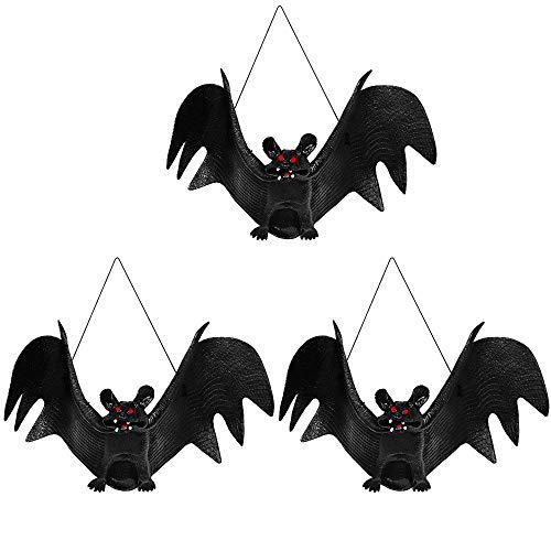 VIVREAL Halloween Hanging Bat - Set of 3 Realistic Looking Spooky Hanging Bats, Latex Halloween Tricky Props Horror Vampire Bat for Halloween Party Decoration, Black