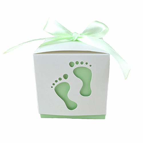 (Crazy Night 50PCS Laser Cute Baby Shower Party Birthday Decorations Gift Boxes Wedding Favor Ribbons Candy Boxes Candy Box feet Shape Party (Green))