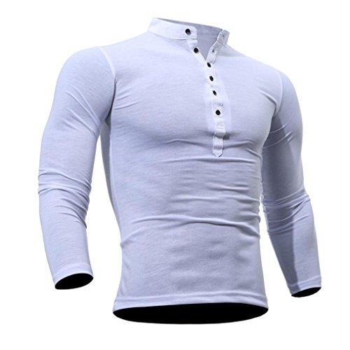Zolimx Primavera de Los Hombres y Camisa Casual Camisa de Algodón de Color Sólido de Color Opcional de Invierno Blanco
