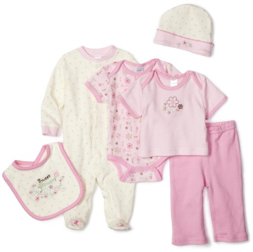 BabyGear Girls Newborn Sweet Flowers On Hanger 6 Piece Layette Set, Pink, 3-6 Months