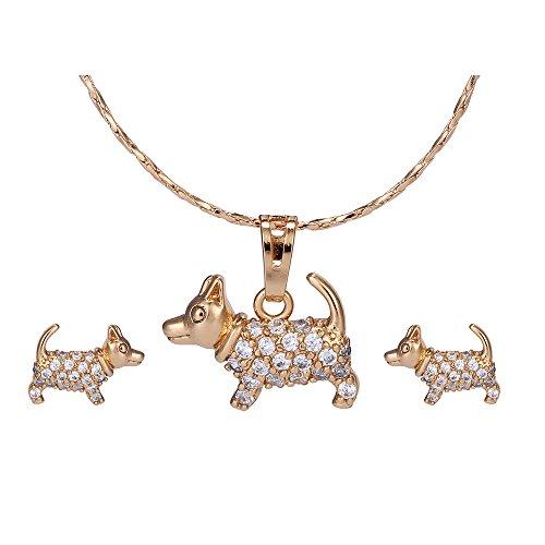 XUPING Chapado en oro Animal Pendientes Collar Joyería Conjuntos Cute Dog Fashion Joyas