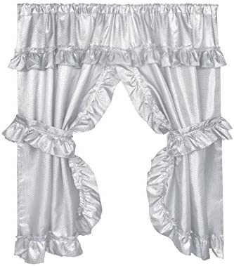 Carnation Home Fashions FWCD-L 03 Lauren Window Curtain with Ruffled Valance, Grey