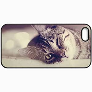Customized Cellphone Case Back Cover For iPhone 5 5S, Protective Hardshell Case Personalized Cat Wink Glance Black