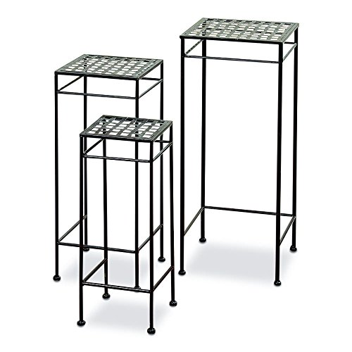 French Country Style Plant Stands, Set of 3, Nesting Tables, Square Woven Tops, Slim Line Base, Romantic Black Rust Resistant Metal, Approx. 29, 25, 21 Inches Tall, Outdoor Garden Collection