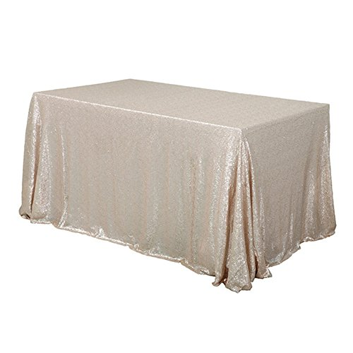 """TRLYC 60"""" 120"""" Champagne Sequin Table Cloth for Thanksgiving"""