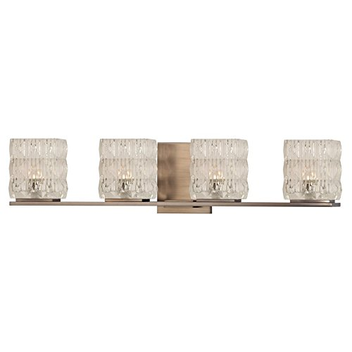Clear Prismatic Fan Glass (Torrington 4-Light Vanity Light - Brushed Bronze Finish with Clear Glass Shade)