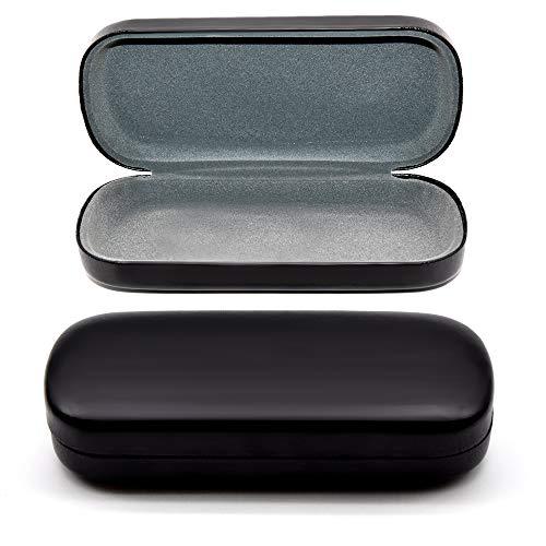 Black Glasses Case Hard Shell | Medium Size | Eye Glasses, Reading Glasses, Sunglasses Case For Men, Women, Kids