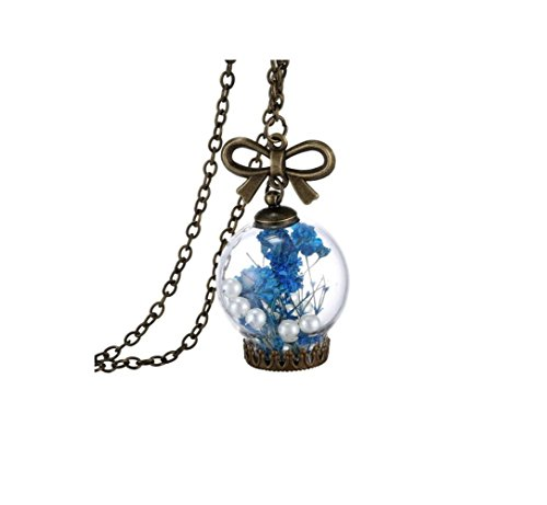 Adorable Woman Vintage Retro Alloy Bronze Plated Dried Pressed-Flower Glass Ball Pendants Necklace