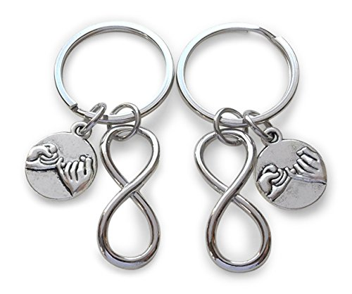 Double Silver Tone Pinky Promise Charm and Infinity Charm Keychains; Couple Keychains, Best Friends Keychains