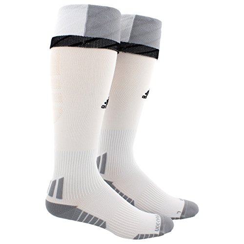 adidas Traxion Premier Soccer Socks (1-Pack), White/Light Onix/Black, Medium