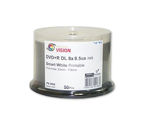 8.5 GB Blank DVD+R DL - DVD+R Falcon Vision Smart 2P White Inkjet Hub Printable 8x 8.5GB 50 Disc Cakebox Dual Layer Blank DVDs by Disc Makers