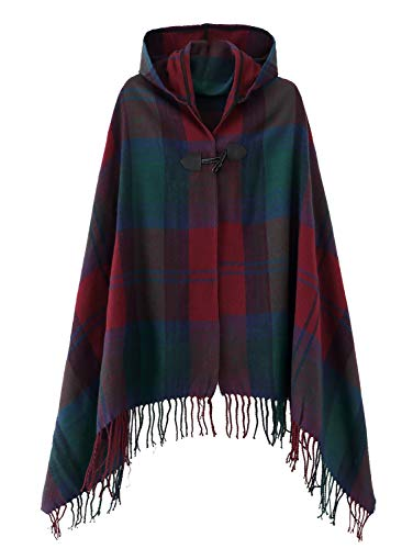 Women's Vintage Plaid Knitted Tassel Poncho Shawl Cape Button Cardigan (One Size, Series 2 Wine Red)