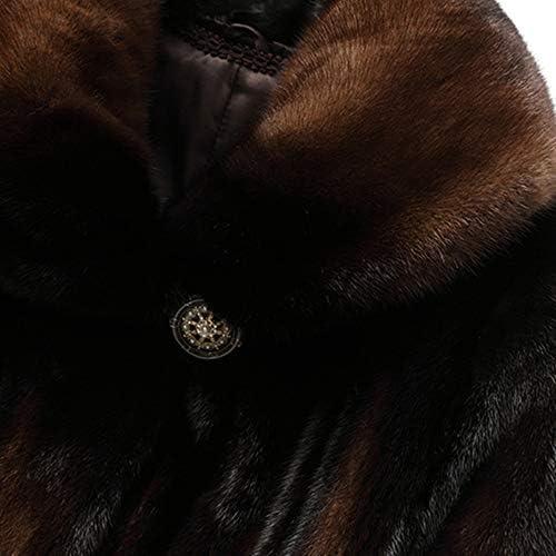 LUCKFUR Pelliccia Pelliccia Lunga Pelliccia, Cappotto di Pelliccia Genuina da Donna per Inverno Spessa Pelliccia Calda