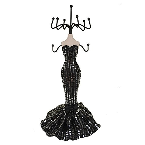 - New Sexy Sequins Mannequin Elegant Dress Jewelry Earring Necklace Stand Display Holder More Colors (Black)