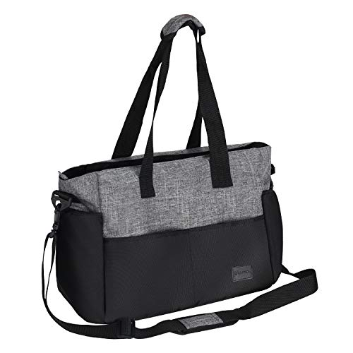 Diaper Bag, Redan Large Baby Bags Tote Organizer Insert Travel Nappy Bags Style with Shoulder Strap and 10 Pockets for Mom, Dad, Boys and Girls, Stroller (Grey Black) ()