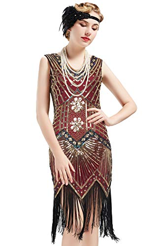 BABEYOND Women's Flapper Dresses 1920s V Neck Beaded Fringed Great Gatsby Dress (Gold & Wine Red, S (Fits 26.8