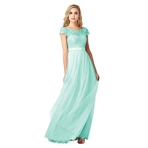 Babyonlinedress Vestido largo para fiesta de noche y para boda estilo A line y elegante escote redondo manga corta sin espalda alta cintura con cinturón y un lazo por detrás verde de menta