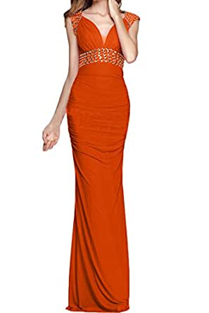 DressyMe Women's Evening Formal Dresses Bodycon Beaded Sweetheart Pleated-20W-Orange