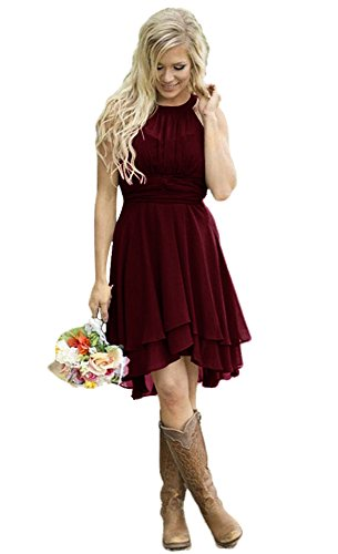 Andybridal Women's Country High Low Halter Chiffon Bridesmaid Dress Western Wedding Guest Dress Burgundy 6 ()