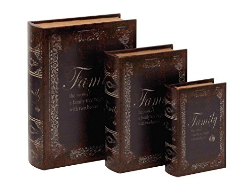 Deco 79 Wood Family Tree Leather Book Box, 13 by 11 by 8-Inch, Mahogany Brown, Set of 3