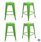 "Set of 4 Metal Bar Stool 24"" Milani Lawn Green Stackable, Indoor/Outdoor, Counter Stools, Kitchen Bar Stools, Industrial, Galvanized Steel, Counter Stool"