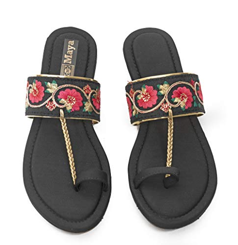Honey Step Flats With Embroidery Design Easy to Wear For Women & Girls (Black)