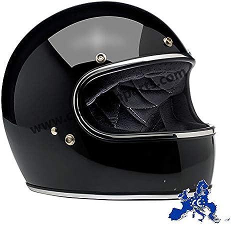 Europa America Integralhelm Gringo Biltwell schwarz gl/änzend gl/änzend schwarz genehmigt doppelter Zulassung ECE Helmet Biker Custom Vintage Retro 70 XL Schwarz /& DOT