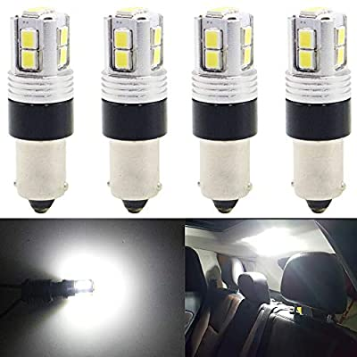 AMAZENAR 4-Pack Copper Compact Wedge BA9 BA9S 53 57 1895 6411 Extremely Bright Xenon White 10-SMD 2835 Non-Polarity LED Light 9-18V Car Replacement Bulb for Interior Dome Map Door Courtesy License Pla: Automotive