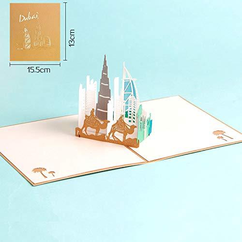 Zhahender 3D Pop Up Greeting Card Dubai Sailing Boat Design Gift Card ()