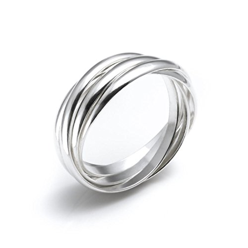 Silverly Women's .925 Sterling Silver 5 Band Interlocking Russian Wedding Ring