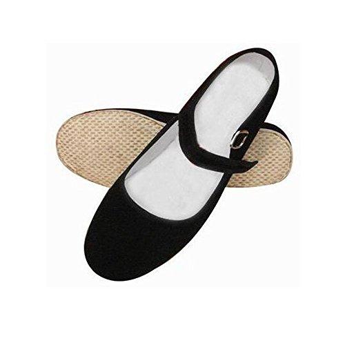Marciales para a hecha Tradicional Artes Kung mano Mujer Fu negro Negro zapatillas Zapatos 5qT0Rnwn
