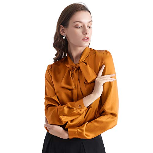 LilySilk Bow-tie Neck Silk Blouse for Women Long Sleeve Ladies Tops Buttons VintageReal Silk Shirts (Caramel, XXL/18-20)