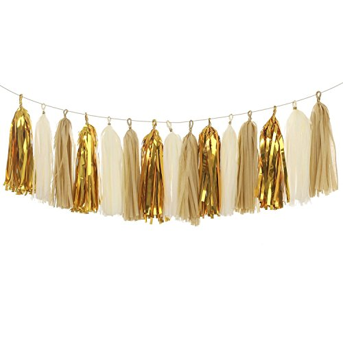 Lings moment 18 PCS Tassel Garland Banner Tissue Paper Tassels for Wedding Baby Shower Event & Party Supplies DIY Kits - (Tan+Ivory+Metallic Gold)