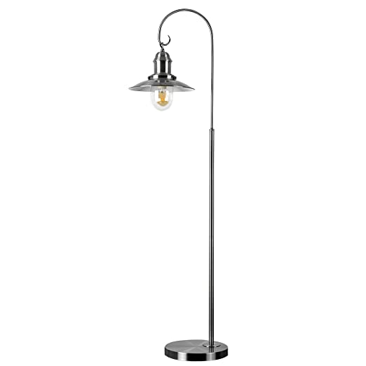 Retro style fishermans floor lamp in a brushed chrome metal finish retro style fishermans floor lamp in a brushed chrome metal finish aloadofball Gallery