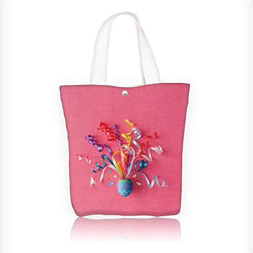 Ladies canvas tote bag Decorated Easter egg with party streamers on pink background reusable shopping bag zipper handbag Print Design W11xH11xD3 INCH