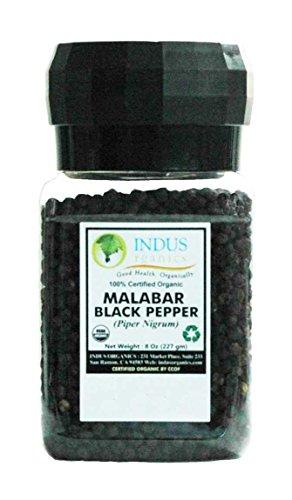 Indus Organics Malabar Black Peppercorns, 8 Oz Jar Grinder, Premium Grade, High Purity, Freshly Packed