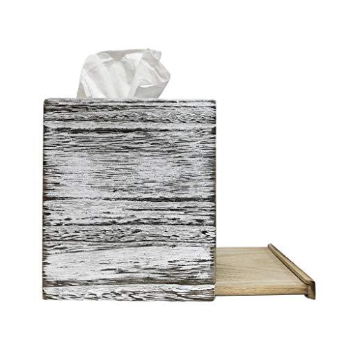C60 COOPER White Weathered Wood Style Tissue Box Cover Square, Tissue Box Cover, Tissue Box Cover Holder - Paulownia Wood by C60 COOPER (Image #2)