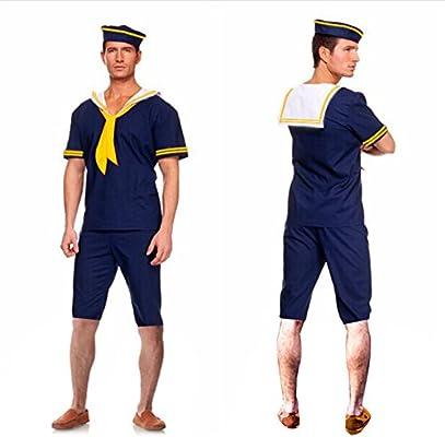GQ Hombre amarillo azul marino bufanda traje de marinero cos jugar ...