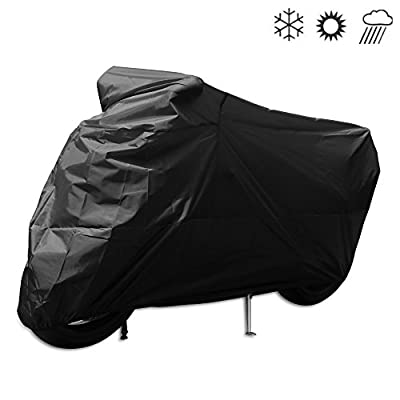 Tokept All-Weather Indoor Outdoor Waterproof Motorcycle Cover-Heavy Duty Black 300D Oxford(XXXL) for Honda, Yamaha, Suzuki, Harley etc. Protected Year Round