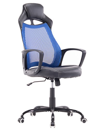 Killbee Swivel Office Task Chair Height Adjustable Premium PU Leather Seat Mesh Back Steel Star Base,Bule
